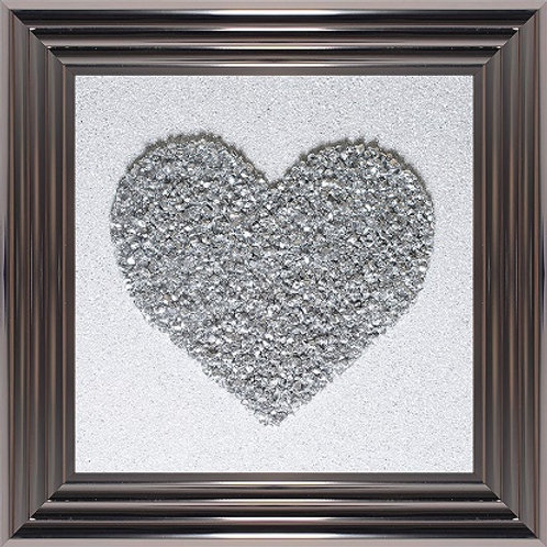 LIQUID ART SILVER HEART WHITE BACK GROUND  SILVER  FRAME 55 X 55CM