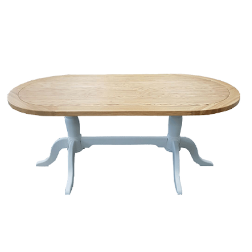 EPSOM WHITE  PAINTED OVAL DOUBLE PADDLED  TABLE