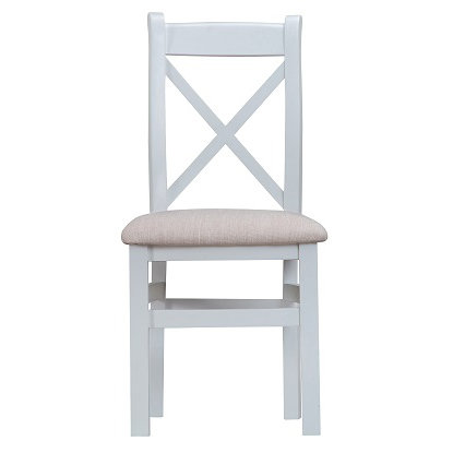 DORSET GREY PAINTED RANGE CROSS BACK CHAIR WITH FABRIC PAD