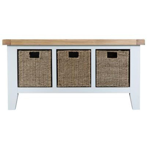 DORSET WHITE  PAINTED COLLECTION LARGE HALL BENCH