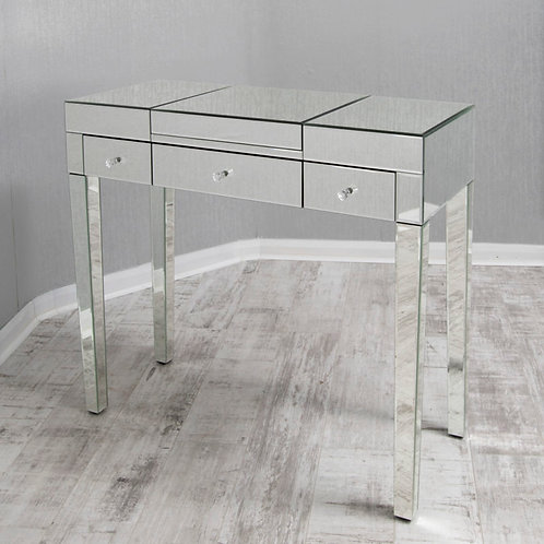 clear mirrored glass dressing table with built in mirror