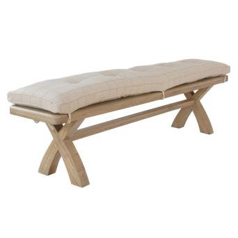 country oak 2m bench cushion only natural check