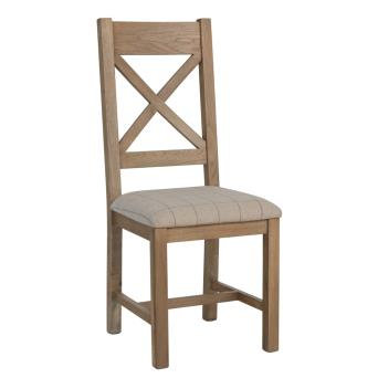 country oak dining chair cross back natural check  pad