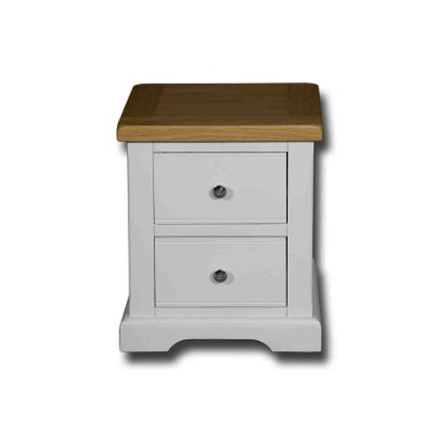 EPSOM WHITE PAINTED TWO DRAWER BEDSIDE CABINET