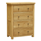 HENLEY RUSTIC OAK 4 DRAWER  CHEST  DEEP  DRAWERS