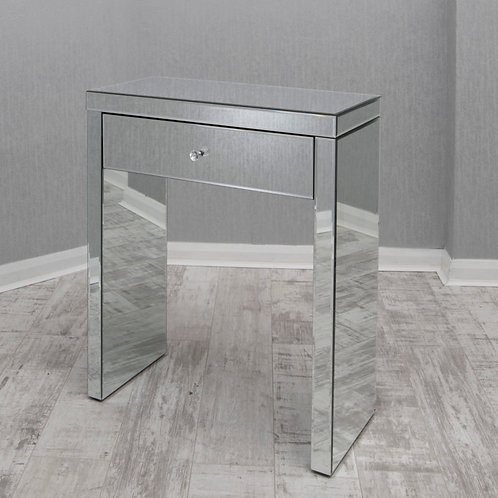 clear mirrored glass one drawer bedside