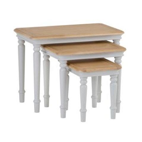DEVON GREY PAINTED RANGE NEST OF 3 TABLES