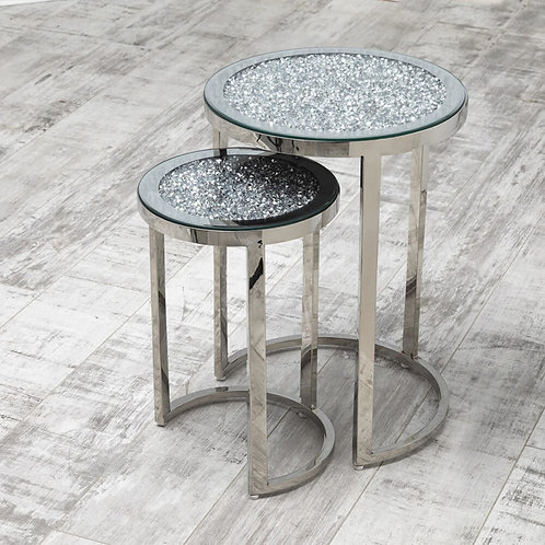 Crushed glass round nest for tables