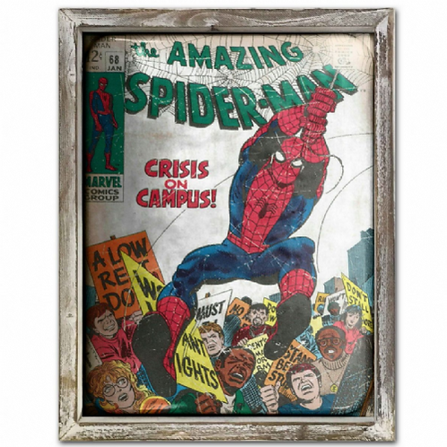 Spiderman Vintage Poster Style Framed Steel Picture Wall Display