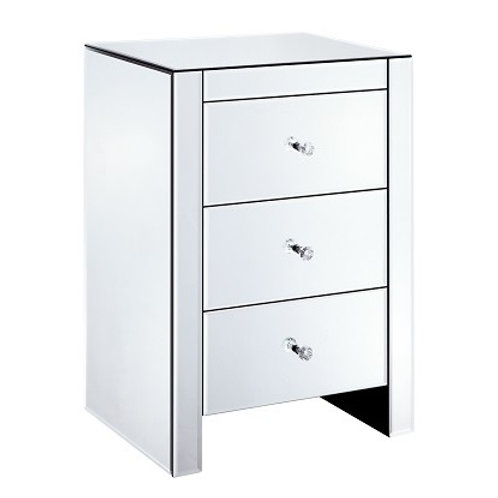 Venetian All Glass Three Drawer Bedside Cabinet