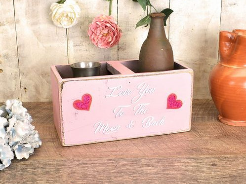 WOODEN PAINTED BOX LOVE YOU TO THE MOON AND BACK