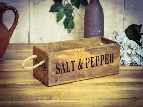 WOODEN BOX SMALL SALT AND PEPPER