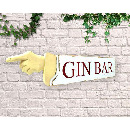 pointing sign gin bar