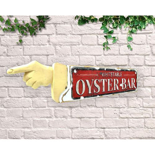 pointing sign oyster bar