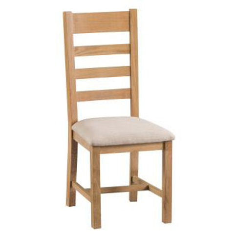 NEW KENT RUSTIC LADDER BACK CHAIR FABIC SEAT