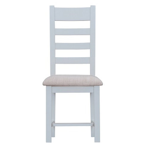 DORSET GREY PAINTED RANGE LADDER  BACK CHAIR WITH FABRIC PAD