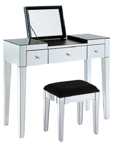 Venetian Glass 3 Draw Dressing Table Set  Bulit In Mirror