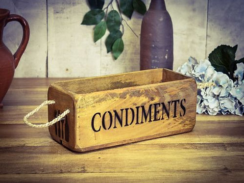 WOODEN BOX CONDIMENTS
