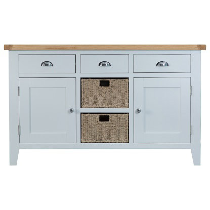 DORSET GREY PAINTED RANGE LARGE SIDEBOARD WITH BASKETS