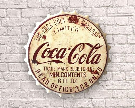 large bottle top cream coca cola wall art
