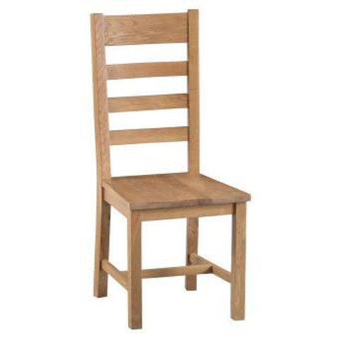 NEW KENT RUSTIC LADDER BACK CHAIR WOODEN SEAT