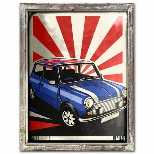 Mini Car Vintage Poster Style Framed Steel Picture Wall Disp
