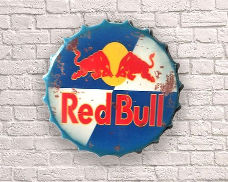 small red bull bottle top wall art