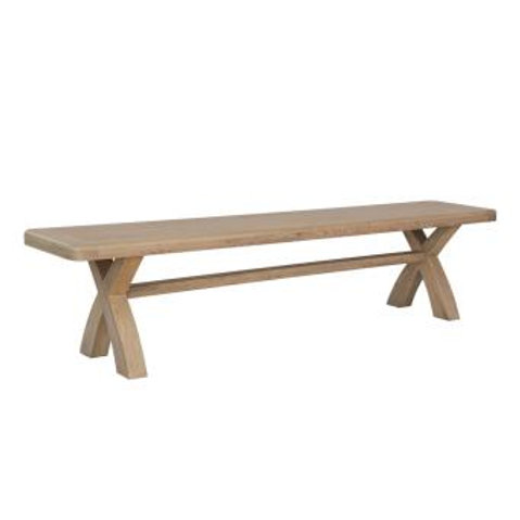 country oak 2m cross leg dining bench
