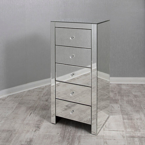 clear mirrored glass  5 drawer wellington