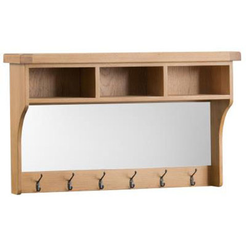 NEW KENT RUSTIC HALL SHELF UNIT WITH MIRROR