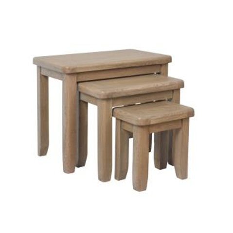 country oak nest of table 3 set