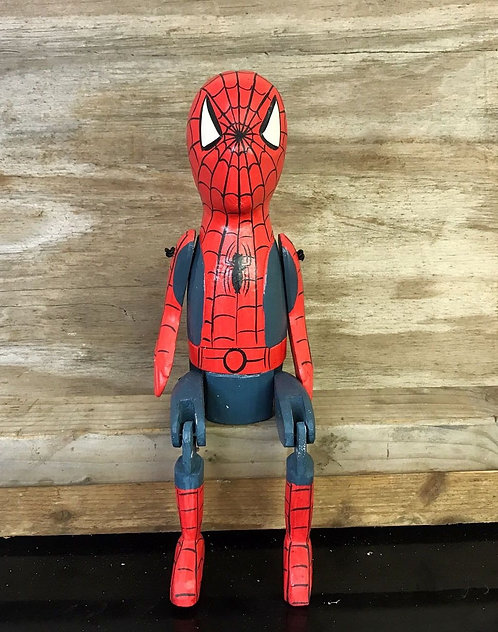 RETRO SPIDERMAN WOODEN PUPPET