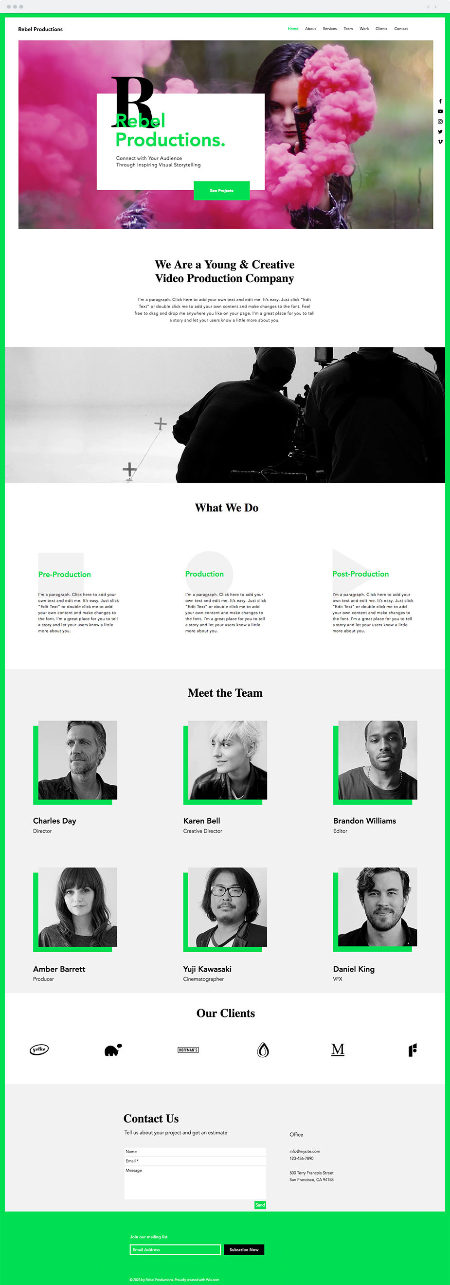 Wix video production template