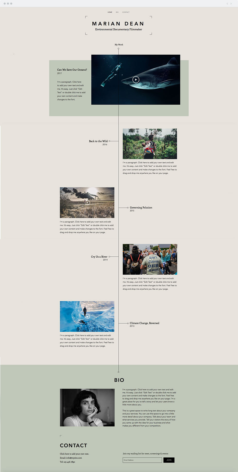 Wix filmography template