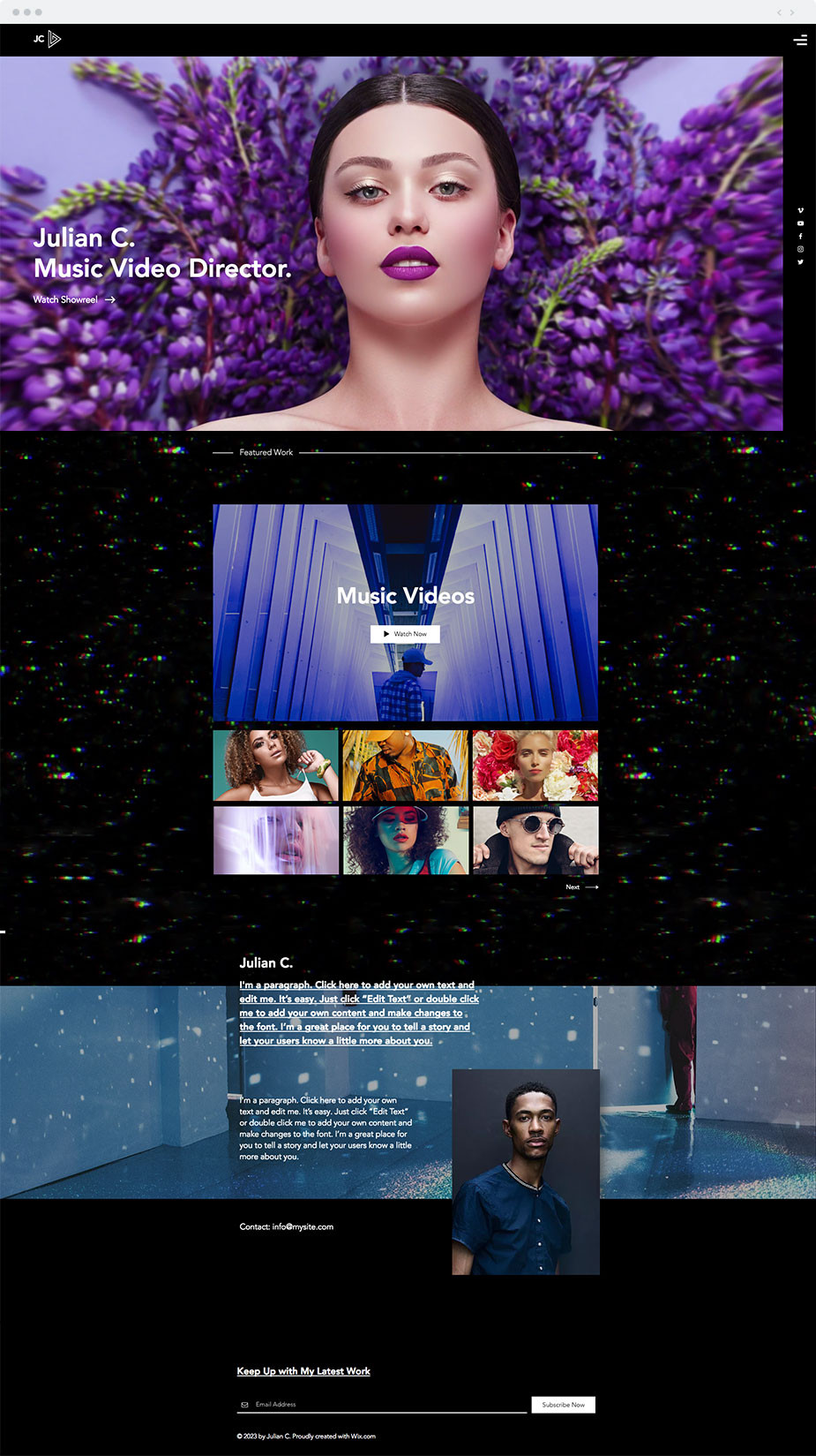 Wix music video director website template