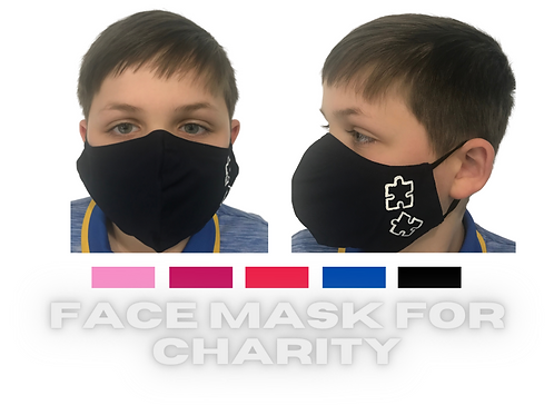 YOUTH  DEEP PINK Charity Face Mask with Puzzle Pieces