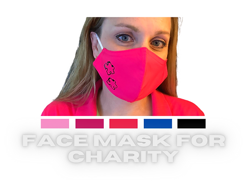 ADULT RED Charity Face Mask with Puzzle Pieces