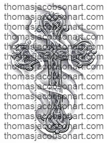 Celtic Cross With Smoke Tattoo Art