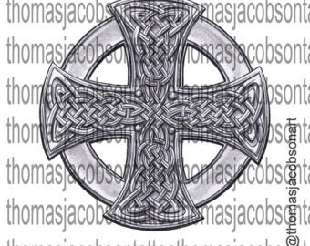 Celtic Shield Cross Tattoo Art