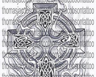 Celtic Cross With Smoke Tattoo Art