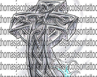 Celtic Cross With Waves Tattoo Art
