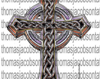 Beveled Celtic Cross Tattoo Art