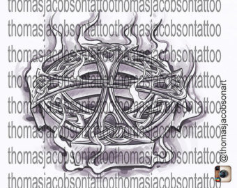 Celtic Cross With Flames Tattoo Art