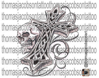 Celtic Cross With Skull Tattoo Art