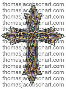Celtic Cross With Emeralds Tattoo Art