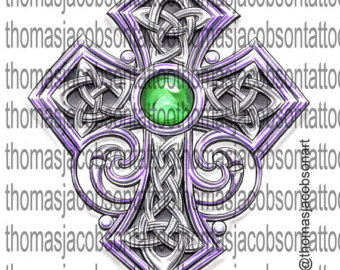 Celtic Cross With Emerald Tattoo Art