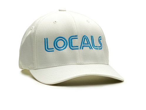 Side view - White and light blue Locals hat