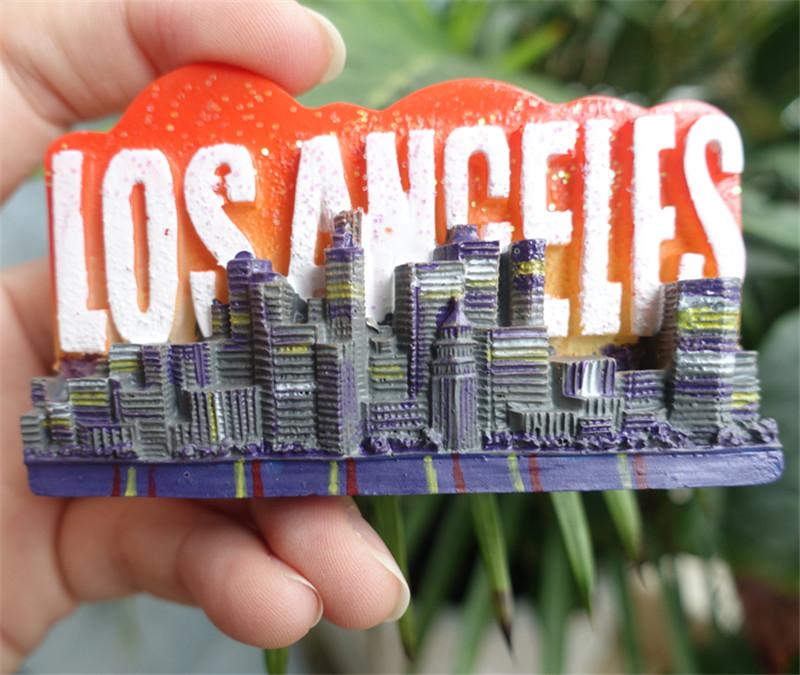 Лос-Анджелес-США-Туризм-Сувенир-3D-смолы-магниты-на-холодильник-Творческий-украшение-дома-холодильни