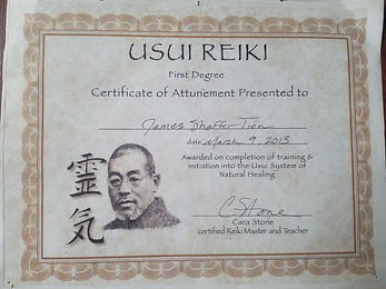 Usui Reiki Level I Certification, Cara Stone, March 2013