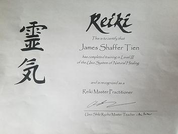 Usui Reiki Level III Certification, Reiki Master Practitioner, Aric Parker, December 2016